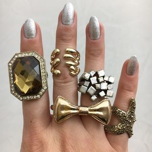 5 Stylish Trendy Costume Jewelry Rings Gold Silver